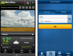 screenshots of met office and national rail app