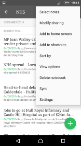 screenshot of Evernote mobile app notes list