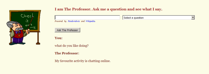 screenshot of asking The Professor bot what he likes doing