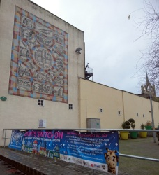 large mural and advertising sign for Chrismtas lights switch on