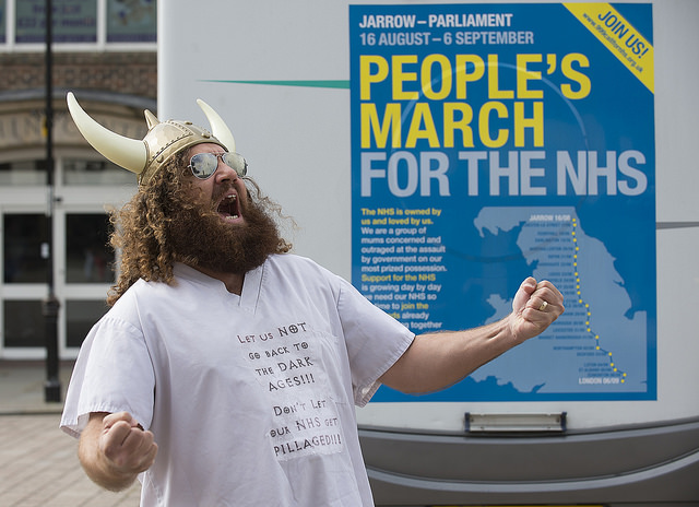Darlington Viking campaigning for the NHS