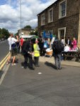 socialist worker stall outside the pub in Kirkby Overblow
